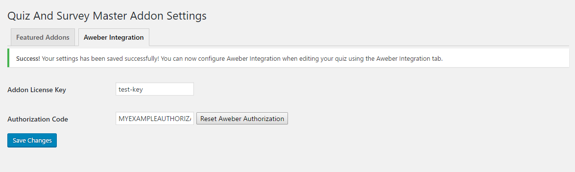 Aweber addon settings saved