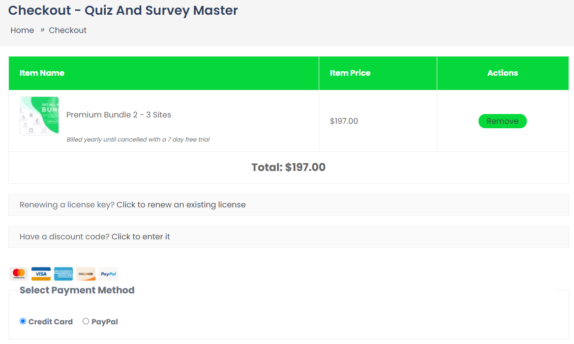 checkout- Quiz and Survey Master