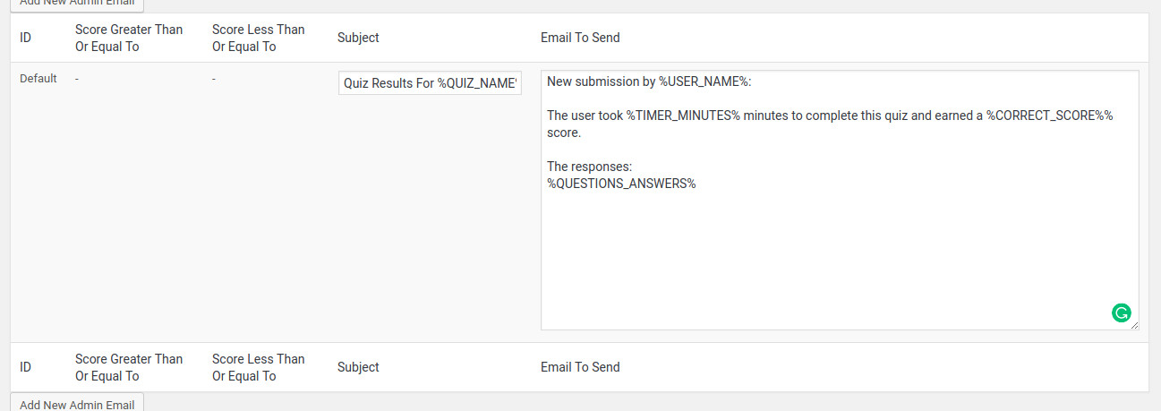 Customizing the email templates