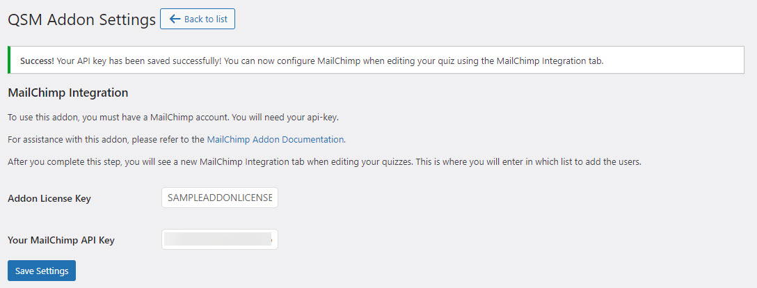 MailChimp Integration Addon - Adding Addon License Key and MailChimp API Key