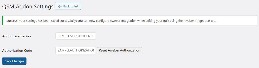 QSM Aweber Integration - Adding Addon License Key and Aweber Activation code Success