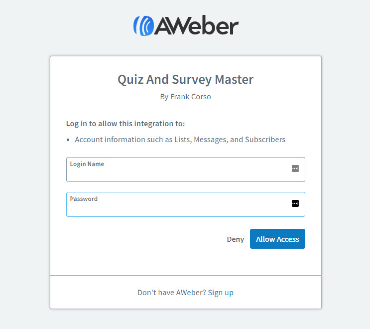 QSM Aweber Integration - Aweber sign in to access the account info