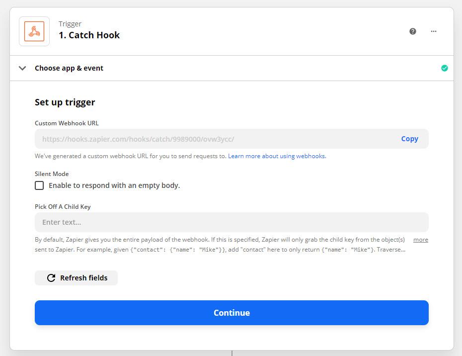 QSM Zapier Integration - Copying the Webhook URL