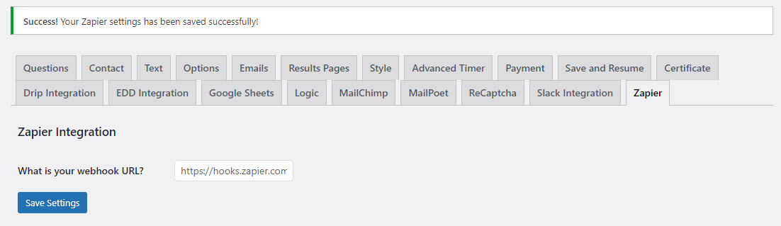 QSM Zapier Integration - Pasting the Webhook URL