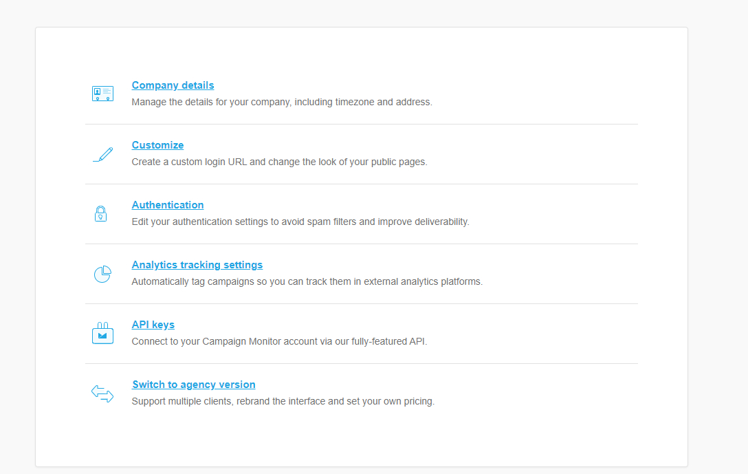 Account settings page with links for company details, customize, authentication, analytics tracking, API keys, and switch to agency version.