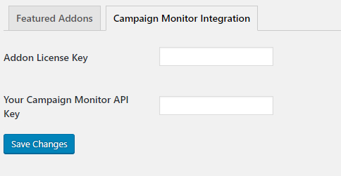 Settings for the campaign monitor addon which are found in the Addon Settings page