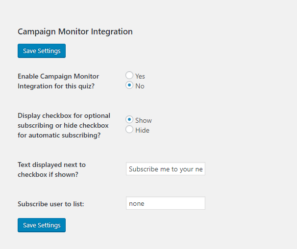 Screenshot of the fields on the Campaign Monitor tab when editing a quiz or survey.
