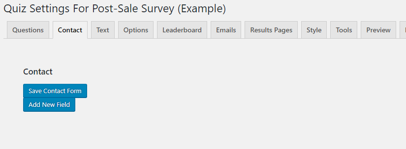 Contact tab from editing a quiz or survey