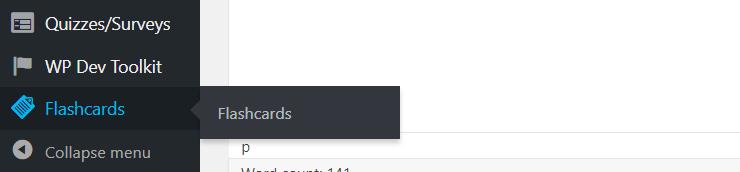 Flashcards menu in WordPress admin