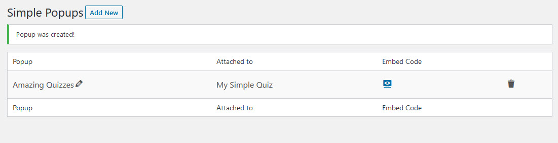 Quiz and Survey Master - Simple Popups - Simple popups Plugin after Configuration