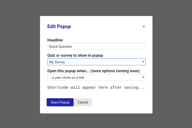 Quiz and Survey Master - Simple Popups - Filling in options to create the popup