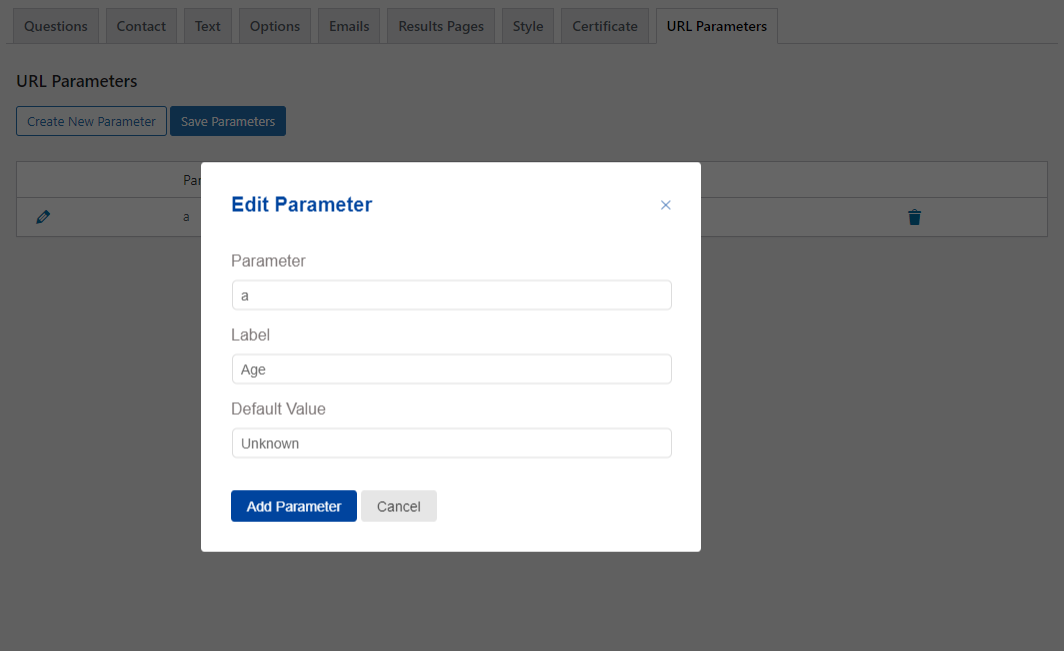 Quiz and Survey Master - URL Parameters Addon - Editing New Parameters