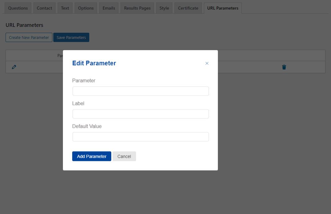 Quiz and Survey Master - URL Parameters Addon - Editing Parameters