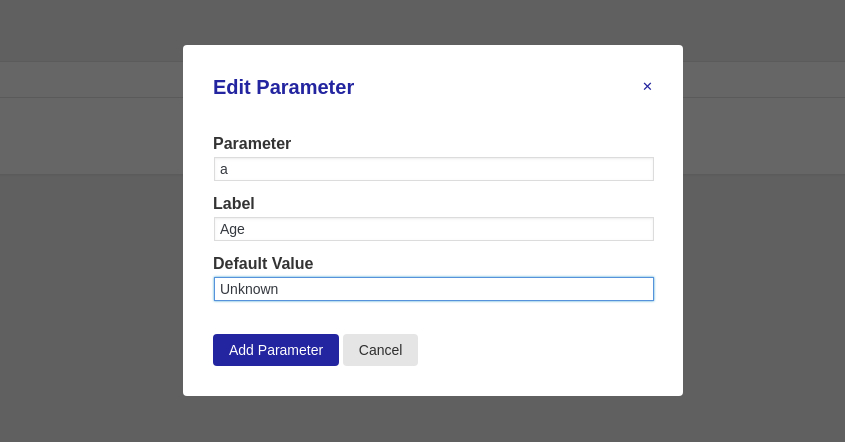 Example parameter set up using the create new parameter popup