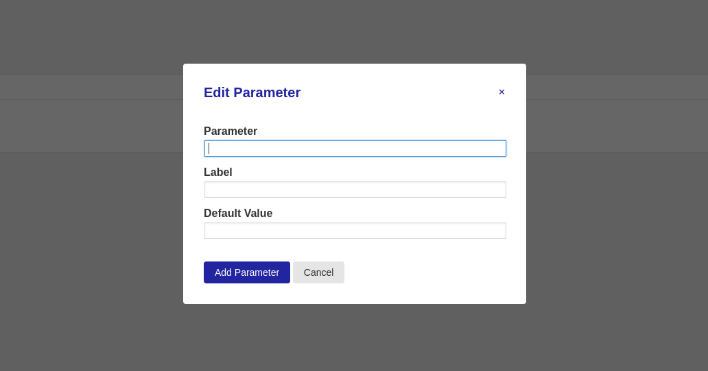 Create new parameter popup that is empty
