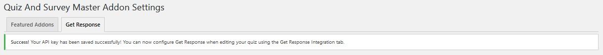QSM Get Response - API Saved - Success