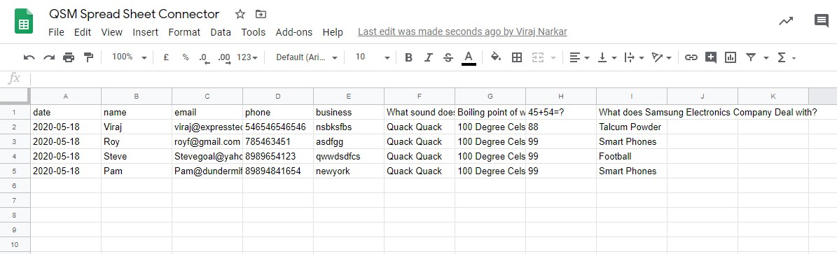 Quiz and Survey Master - Google Sheets Connector Addon - Data saved in Google Sheets