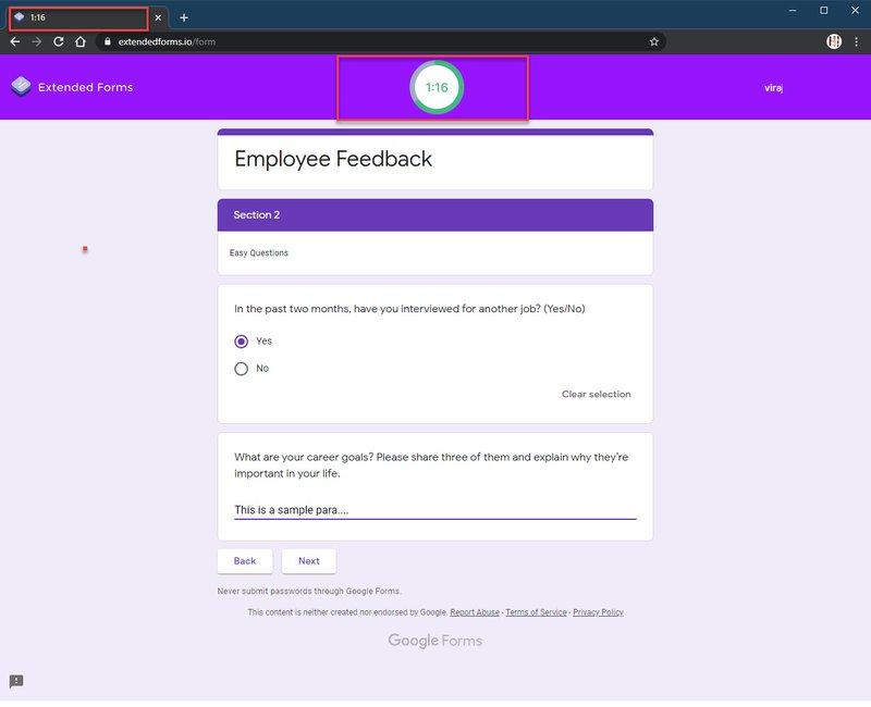 Extended Forms-Google Sample Example