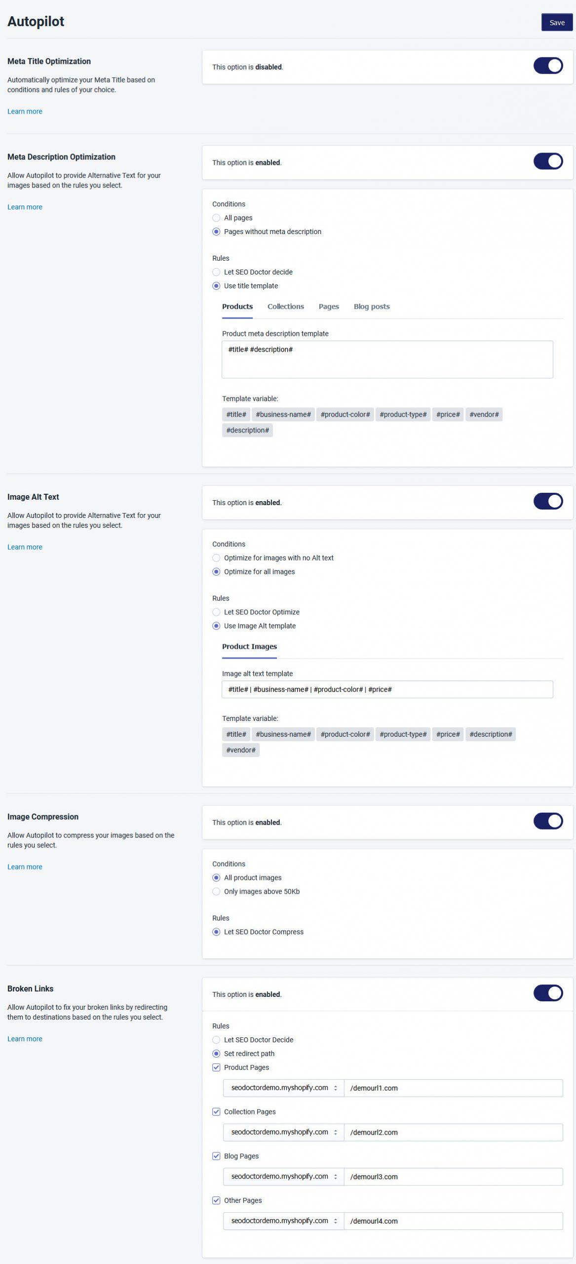 Shopify SEO App - SEO Doctor App Autopilot Mode
