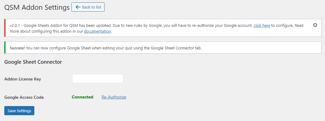 Quiz and Survey Master - Google Sheets Connector - Authorizing Google Access Code