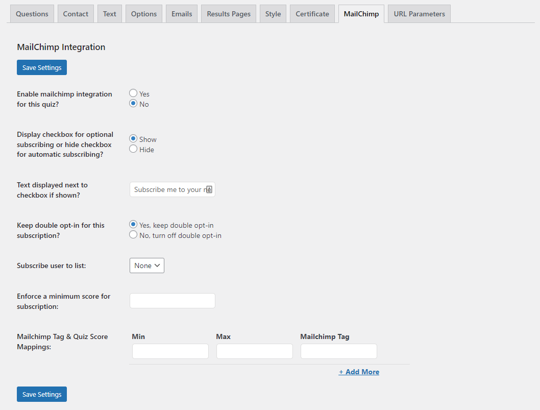 Quiz and Survey Master - MailChimp Integration - MailChimp Configuration