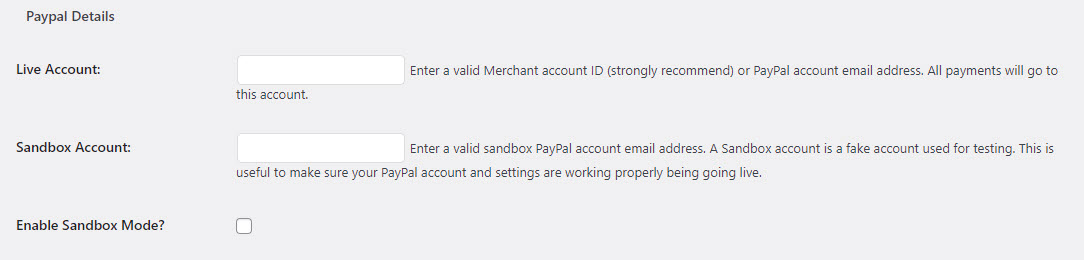How to create a form in WordPress and link with PayPal or Stripe - Add PayPal Account Details