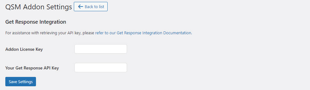 QSM Get Response - Adding Addon License Key