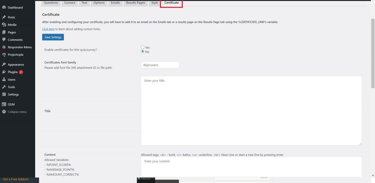 Create a Quiz using WordPress quiz plugin and offer Certificates- Offer free certificate