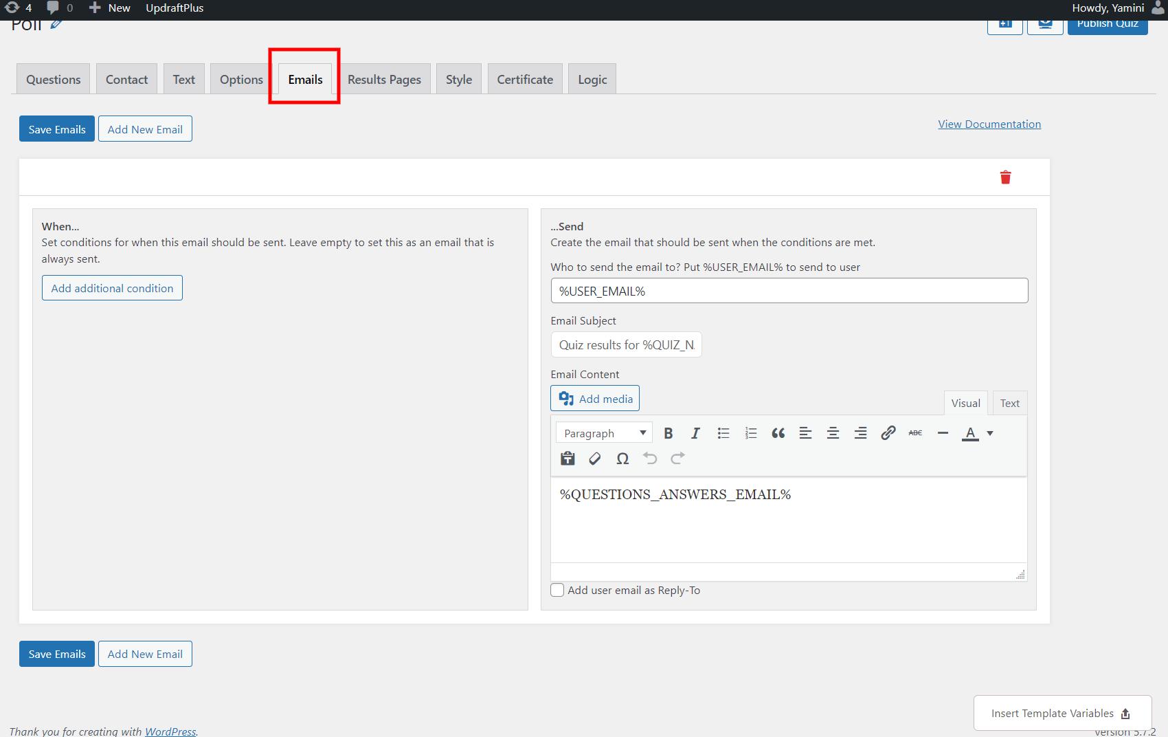 Best WordPress Poll Plugin - Edit emails