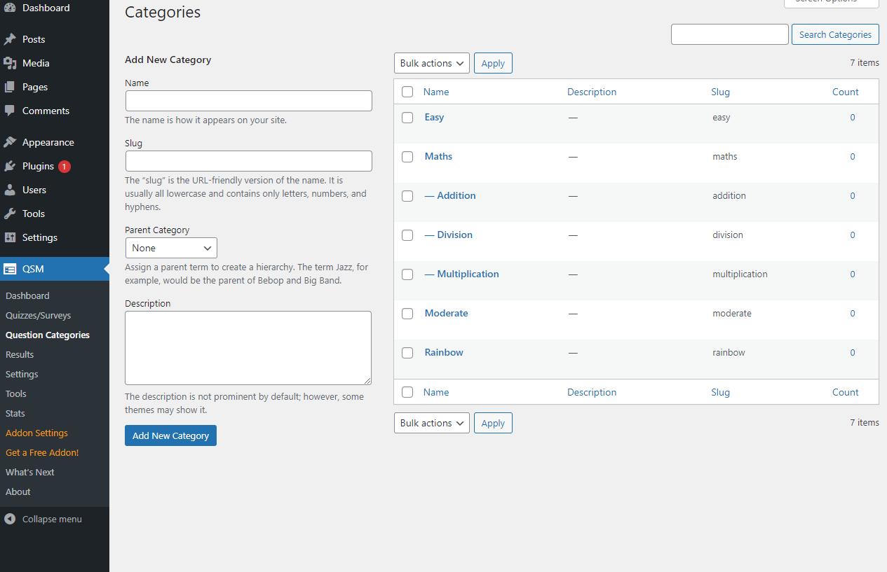 QSM Multiple Category Support - Question Categories Management (Create, Edit & Delete)