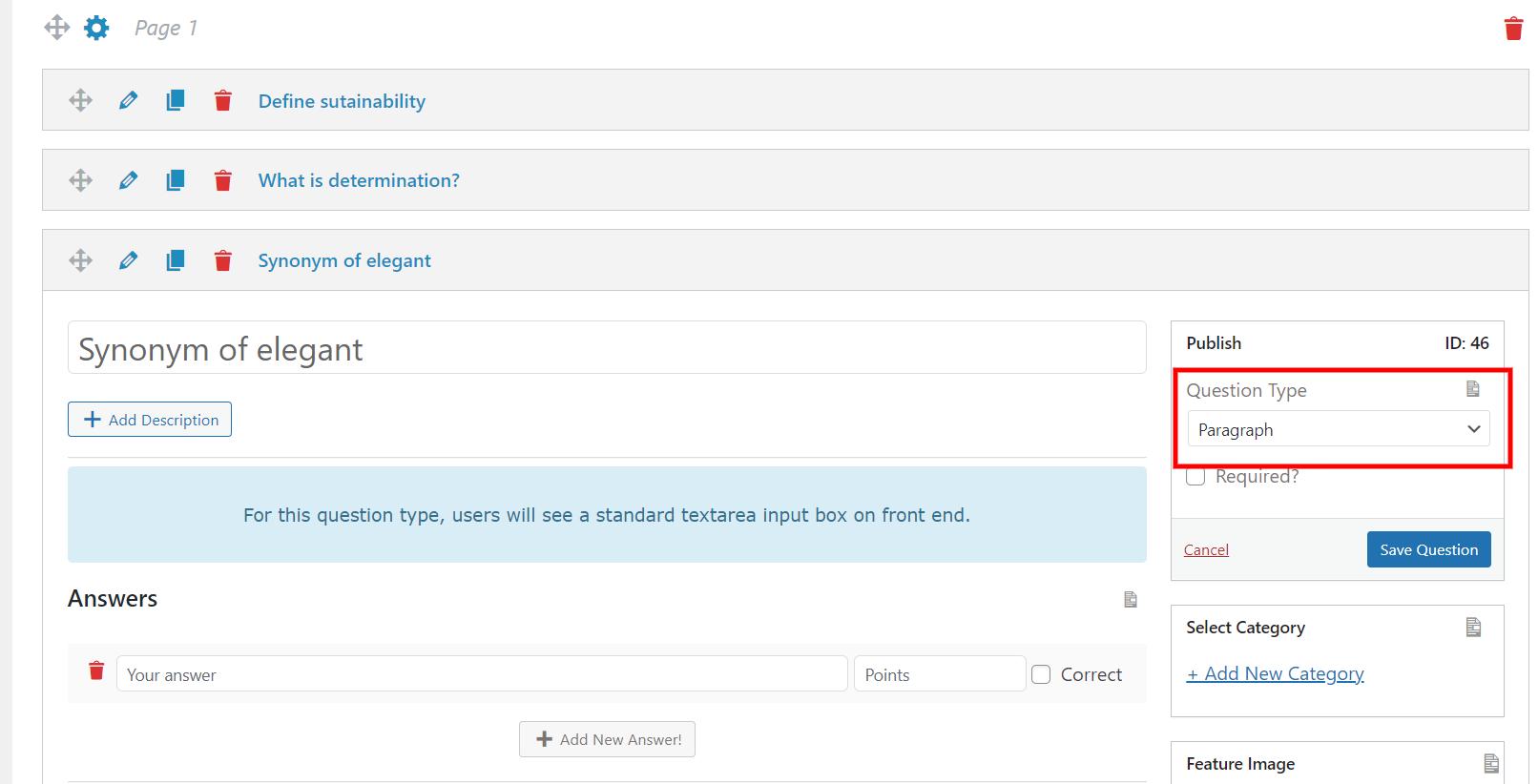 Vocabulary Quiz in WordPress - Identification questions
