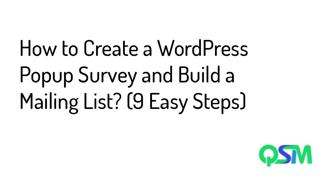WordPress Popup Survey