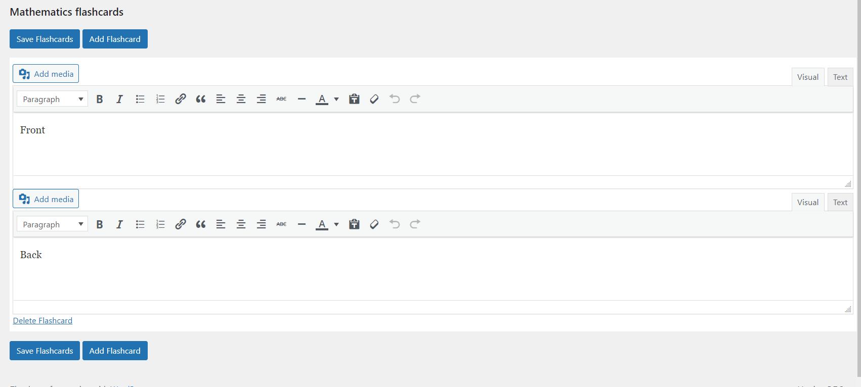 WordPress flashcard plugin - Front and back