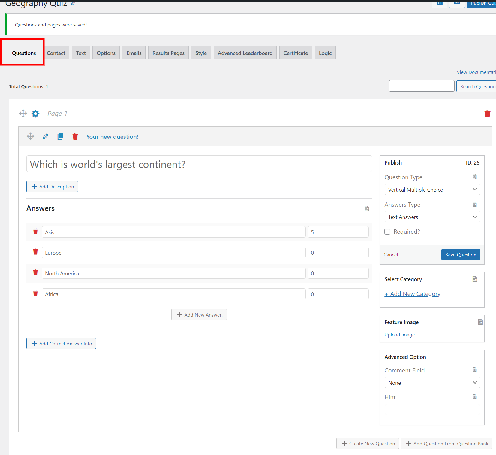 WordPress leaderboard plugin - Add question