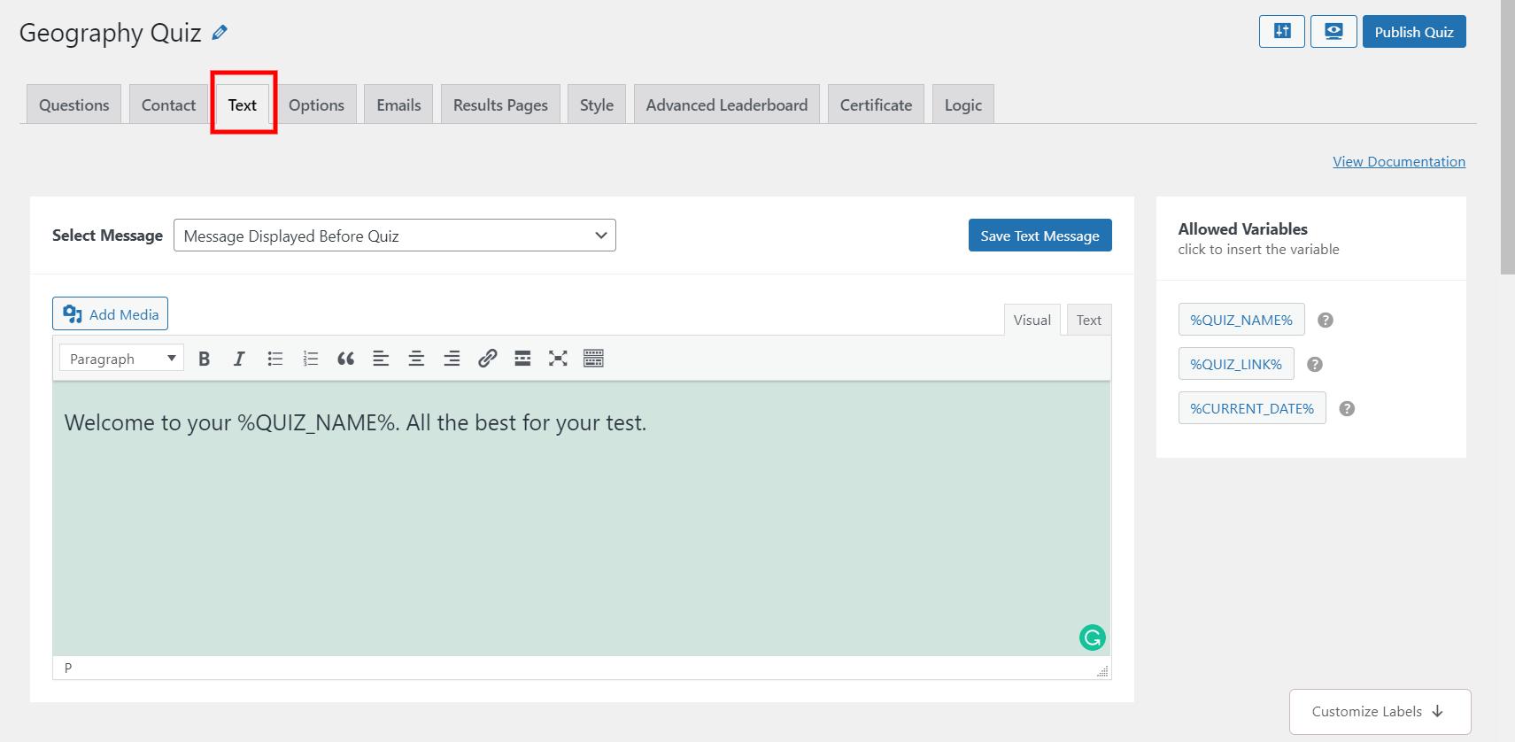 WordPress leaderboard plugin - customize text