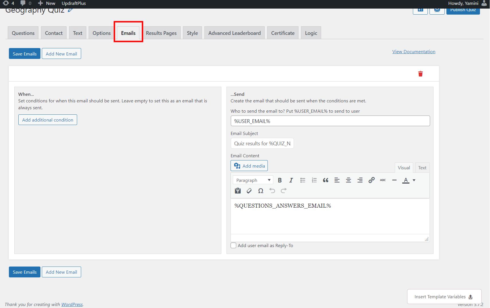 WordPress leaderboard plugin - edit emails