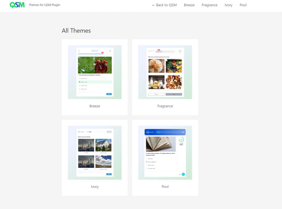 WordPress leaderboard plugin - qsm themes