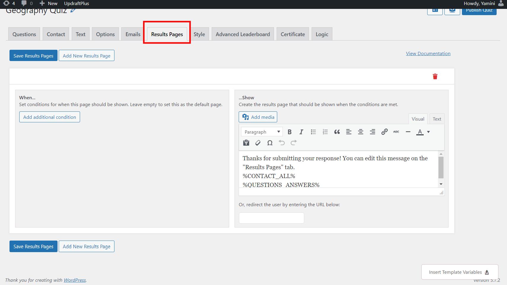WordPress leaderboard plugin - result pages