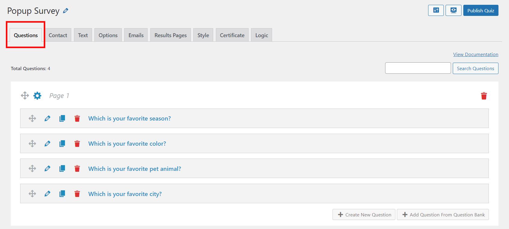 WordPress popup survey- Add questions