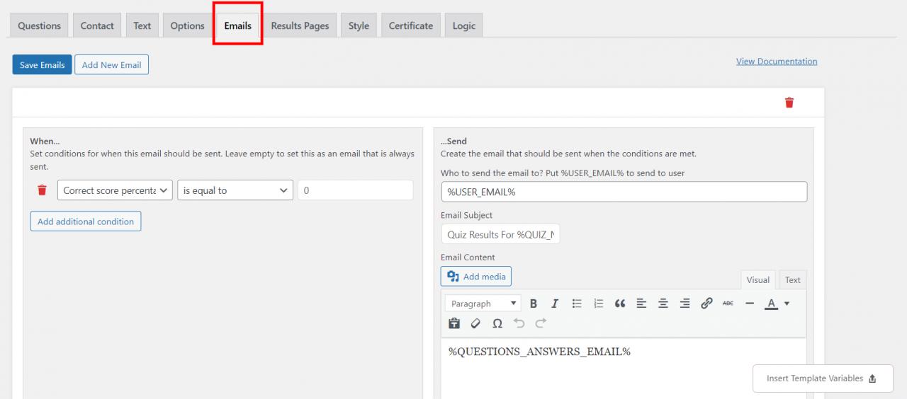 WordPress popup survey- Create emails