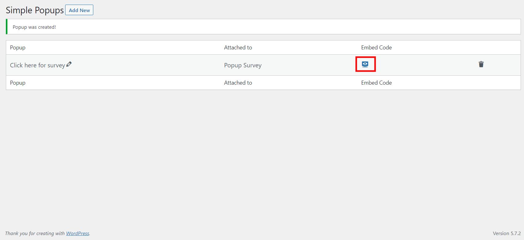 WordPress popup survey- Embed code