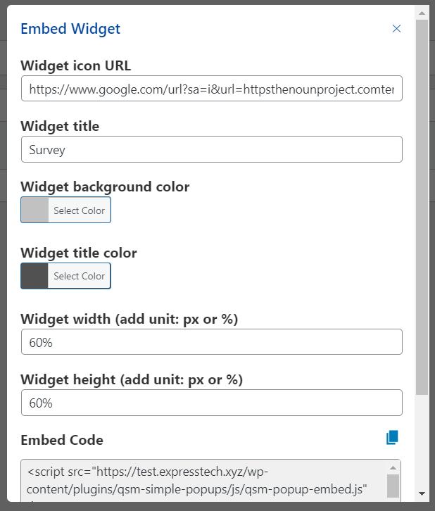 WordPress popup survey- Embed widget