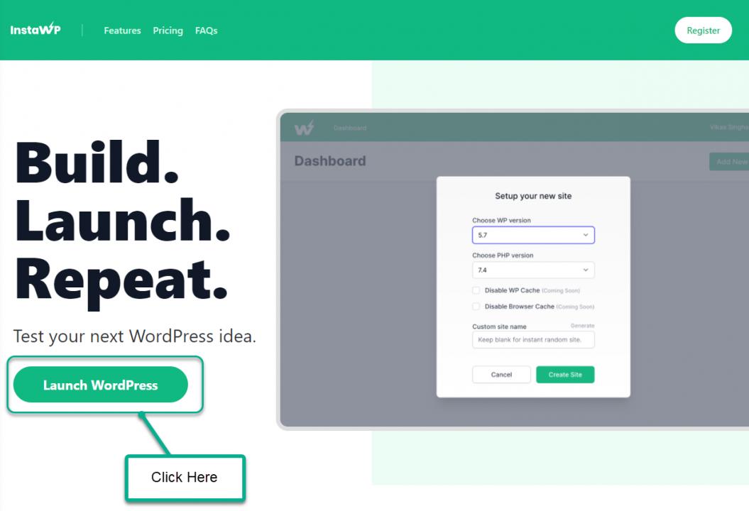 Install WordPress On Sandbox - InstaWP Landing Page