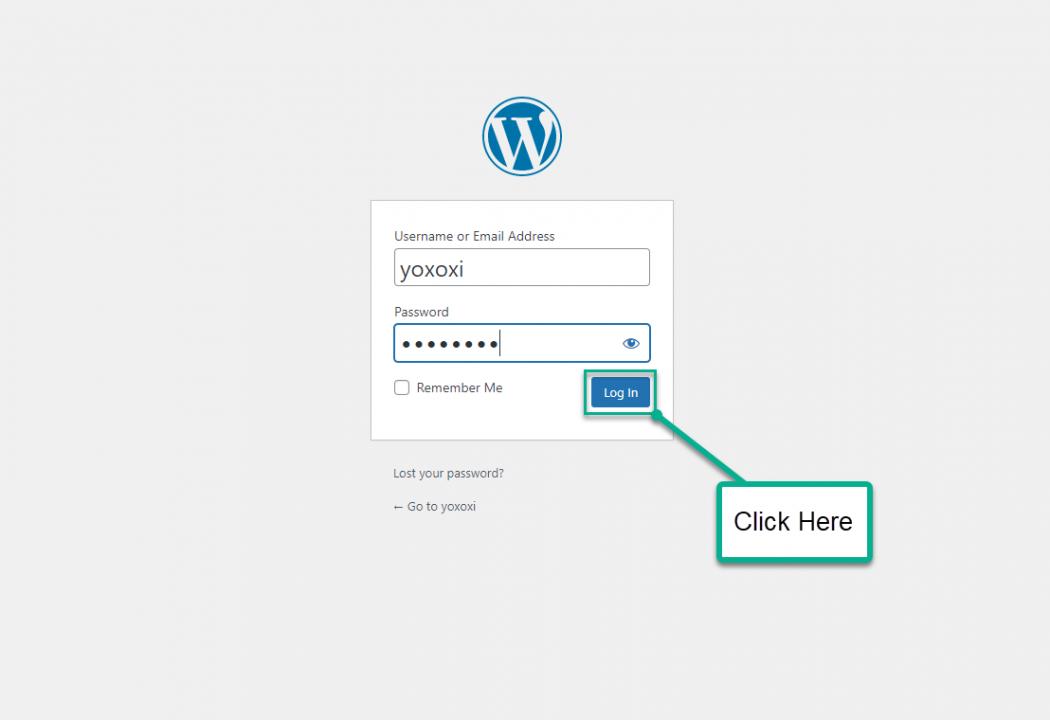 Install WordPress On Sandbox - Login to WordPress Test Site