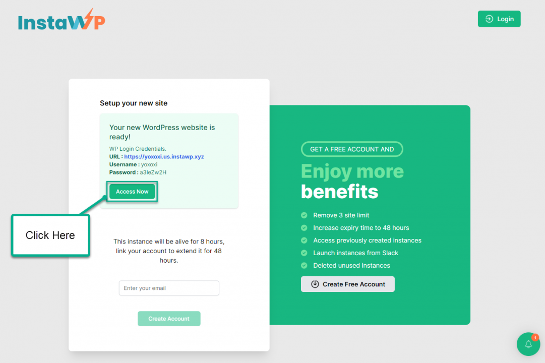 Install WordPress On Sandbox - Test Site Generated
