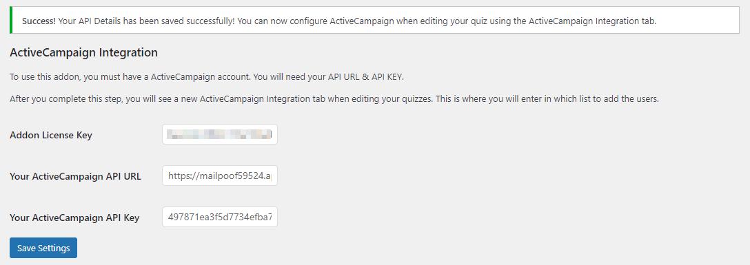 QSM Active Campaign Intergration Addon- API Key Success
