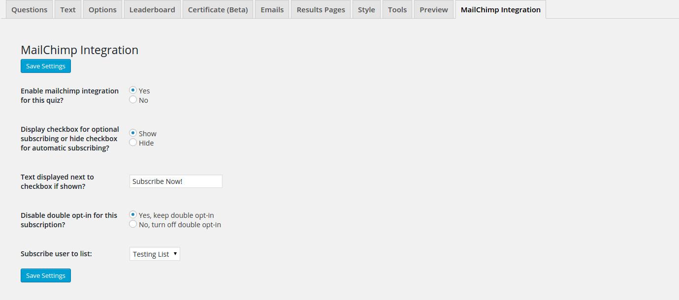 QSM MailChimp Integration Quiz Settings